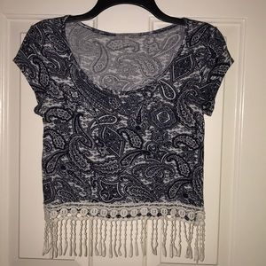 Crop top with fringe at bottom size small